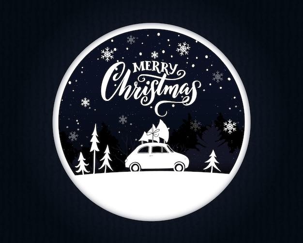 Kartka świąteczna papercut z zabytkowym samochodem niosącym świerk na wierzchu. wesołych świąt tekst na nocnej scenie.