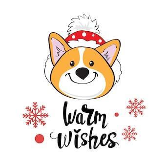 Kartka świąteczna pies corgi i napis ciepłe życzenia na białym tle. ilustracja kreskówka wektor