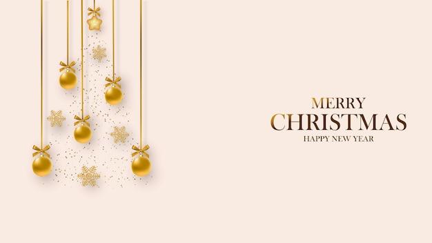 Kartka świąteczna. projekt ozdób choinkowych zawieszonych na wstążce i płatkach śniegu. wesołych świąt i szczęśliwego nowego roku.