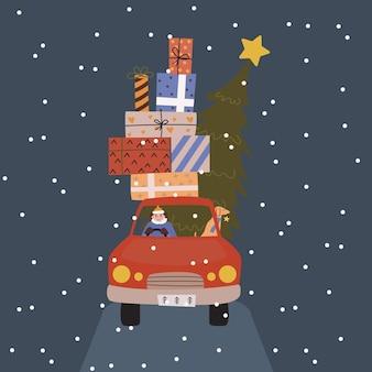 Kartka świąteczna. samochód z prezentami i choinką. mężczyzna i pies w samochodzie.