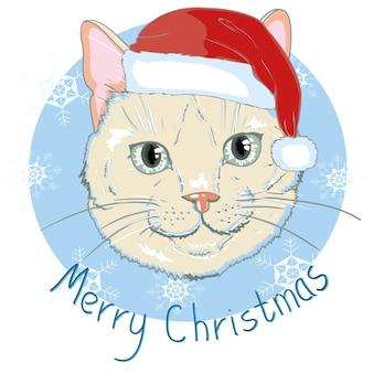 Kartka świąteczna. śliczny kotek w czerwonej czapce świętego mikołaja i kokardce w paski. ilustracja.