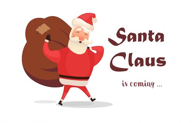 Kartka świąteczna. śmieszna kreskówka święty mikołaj z ogromną czerwoną torbą z prezentami.