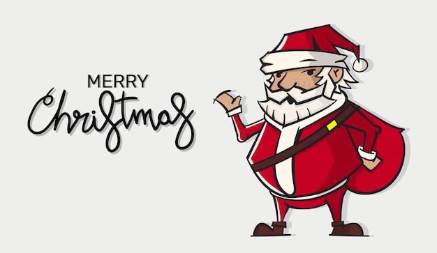 Kartka świąteczna. śmieszna kreskówka święty mikołaj z ogromną czerwoną torbą.