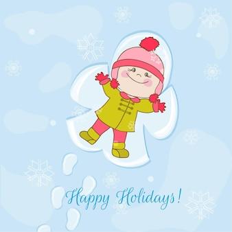Kartka świąteczna śnieżny anioł baby
