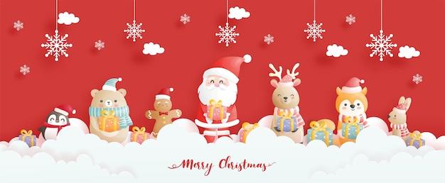 Kartka świąteczna, uroczystości z banerem świętego mikołaja i przyjaciół, scena bożonarodzeniowa w stylu cięcia papieru.