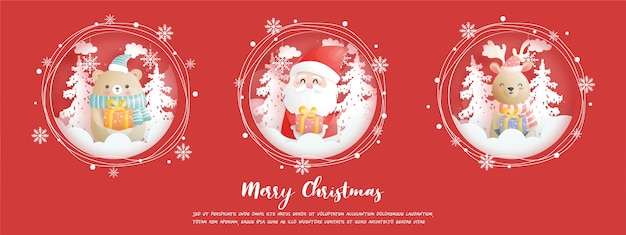 Kartka świąteczna, uroczystości z mikołajem i przyjaciółmi, scena bożonarodzeniowa w stylu wycinanki z papieru.