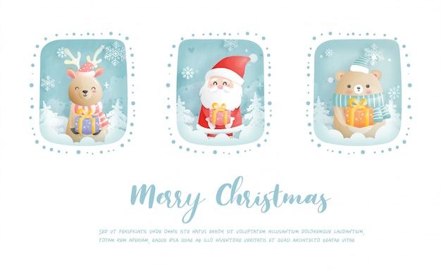 Kartka świąteczna, uroczystości z mikołajem i przyjaciółmi, scena bożonarodzeniowa w stylu wycinanki
