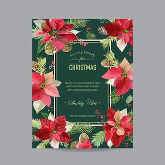 Kartka świąteczna vintage poinsecja