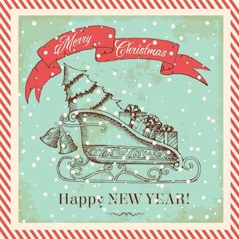 Kartka świąteczna w stylu vintage z saniami świętego mikołaja z prezentami i choinką