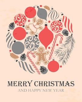 Kartka świąteczna wektor w stylu vintage