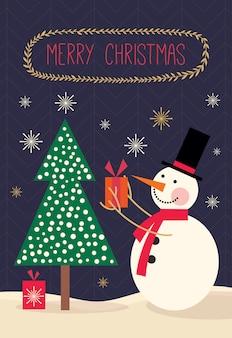 Kartka świąteczna z bałwanem