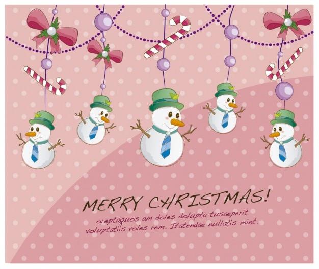 Kartka świąteczna z bałwanki wiszące