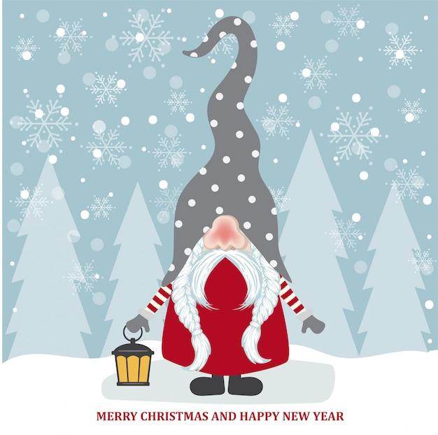 Kartka świąteczna z cute gnome. płaska konstrukcja. wektor