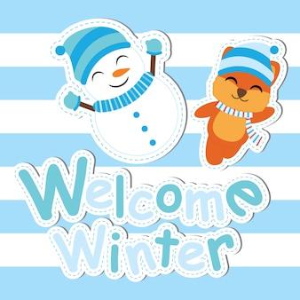 Kartka świąteczna z cute lis i snowman uśmiech wektor cartoon, pocztówka xmas, tapety i kartkę z życzeniami, ilustracji wektorowych