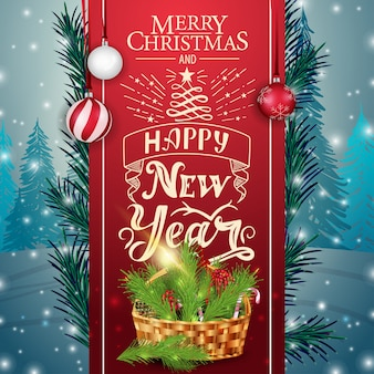 Kartka świąteczna z czerwoną wstążką i kosz bożego narodzenia