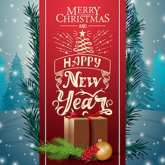 Kartka świąteczna z czerwoną wstążką i prezenty