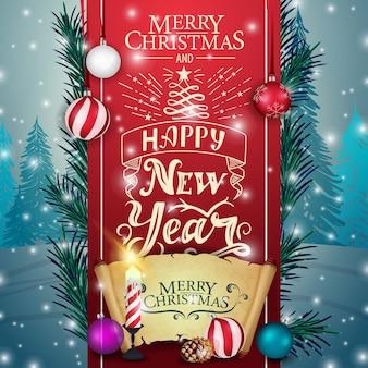 Kartka świąteczna z czerwoną wstążką, pergamin i świeca