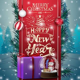 Kartka świąteczna z czerwoną wstążką, świecie śniegu i prezenty