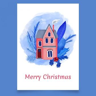 Kartka świąteczna Z Domu I Liści Premium Wektorów