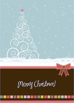Kartka świąteczna z drzewo styl vintage ilustracji wektorowych