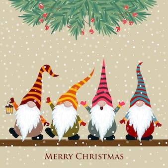 Kartka świąteczna z gnomami