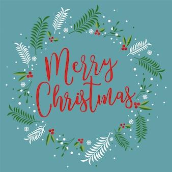 Kartka świąteczna z jagodami, liśćmi palmowymi, płatkami śniegu.