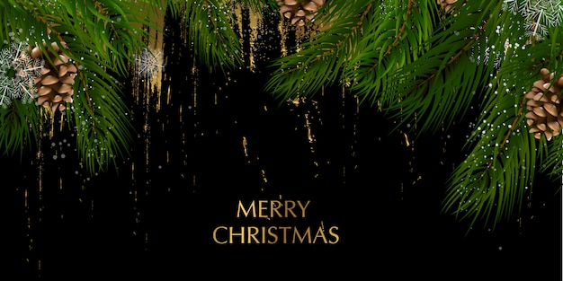 Kartka świąteczna z kompozycją gałęzi sosny. wesołych świąt i szczęśliwego nowego roku. brokatowa dekoracja, złoto.