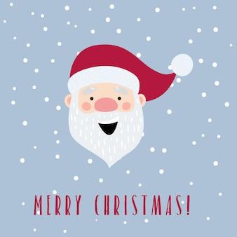 Kartka świąteczna z kreskówki świętego mikołaja.