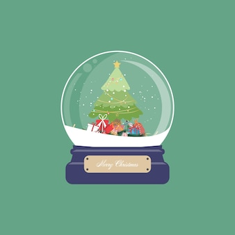 Kartka świąteczna z kulą śnieżną i choinką z prezentami i ornamentem na zielonym tle. ilustracja.