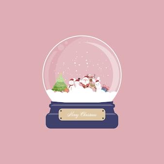Kartka świąteczna z kulą śnieżną i mikołajem, reniferem, króliczkiem, bałwanem i prezentem na różowym tle. ilustracja.