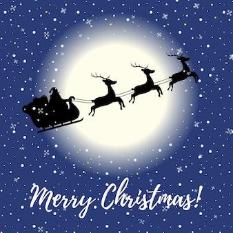 Kartka świąteczna z latania saniami w nocy