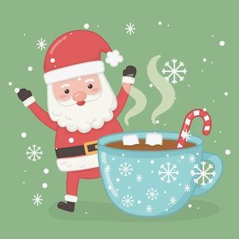 Kartka świąteczna z mikołajem i filiżanka czekolady