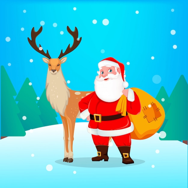Kartka świąteczna z mikołajem i reniferami