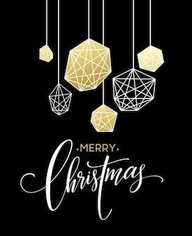 Kartka świąteczna z napisem handdrawn. kolory złoty, czarny i biały. element projektu trend na dekoracje świąteczne i plakaty. ilustracja wektorowa eps10