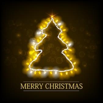 Kartka świąteczna z napisem sylwetka choinki i świecąca girlanda na ciemno