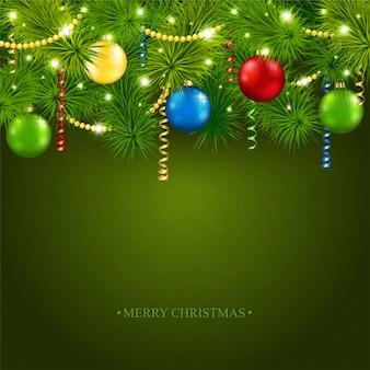 Kartka świąteczna z pięknym drzewem