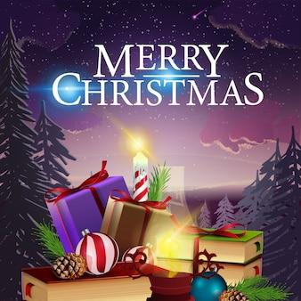 Kartka świąteczna z pięknym zimowym krajobrazem i góry prezentów