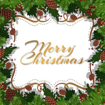 Kartka świąteczna z pinecone i liści