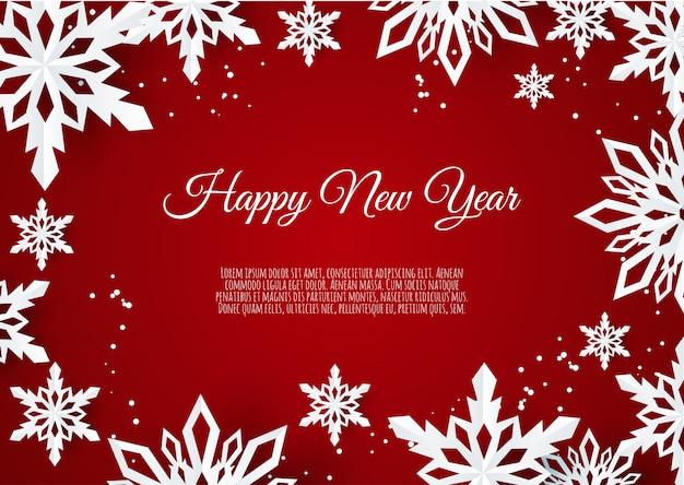 Kartka świąteczna z płatkami śniegu papieru, spadające płatki śniegu na czerwonym tle,