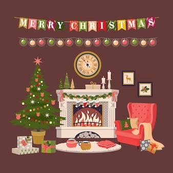 Kartka świąteczna z płonącym kominkiem, choinką i krzesłem. wektor, na białym tle.