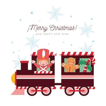 Kartka świąteczna z pociągiem i żołnierzem blaszanym z piernikiem i płatkami śniegu