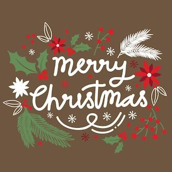Kartka świąteczna z projektem wieńca wesołych świąt list z liściem ostrokrzewu