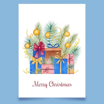 Kartka świąteczna z pudełkami słodyczy z drzewem iglastym