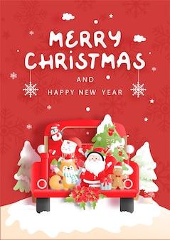 Kartka świąteczna z rocznika ciężarówki i przyjaciółmi
