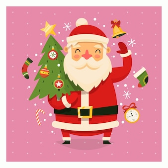Kartka świąteczna z santa claus przewożących drzewo