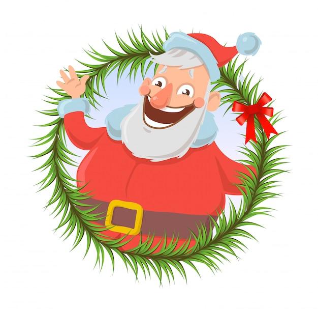 Kartka świąteczna z santa claus, uśmiechając się i machając ręką. święty mikołaj macha na cześć. na białym tle. okrągły element. ilustracja postaci z kreskówek.