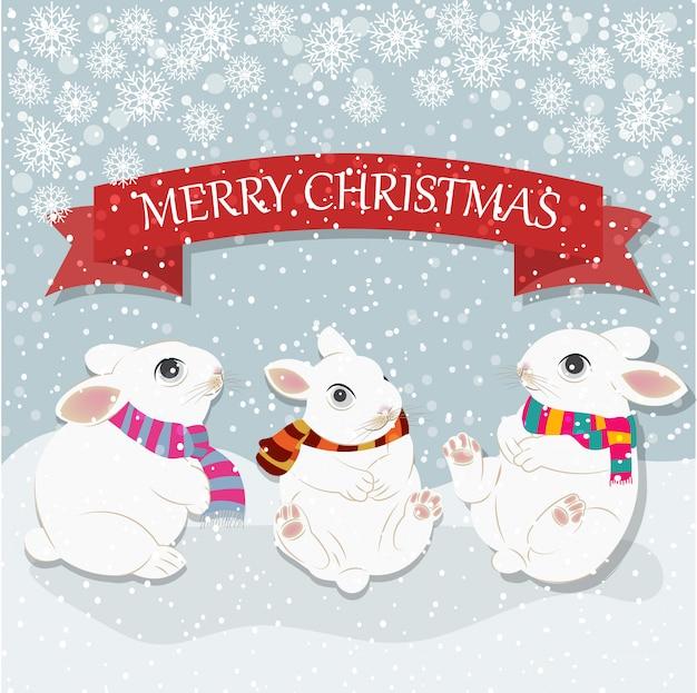 Kartka świąteczna z słodkie króliki. kartkę z życzeniami wesołych świąt. płaska konstrukcja. wektor