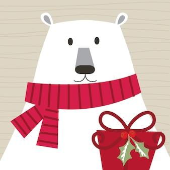 Kartka świąteczna z słodkim misiem i prezentem świątecznym, uroczą postacią świąteczną