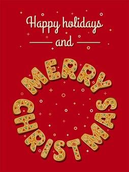 Kartka świąteczna z świątecznymi piernikami na czerwonym tle wesołych świąt fraza w kręgu
