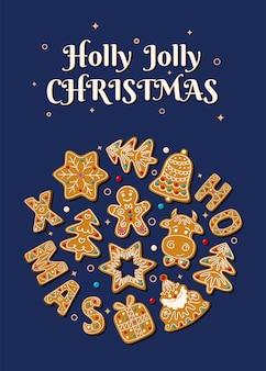 Kartka świąteczna z świątecznymi piernikami na niebieskim tle ilustracji wektorowych